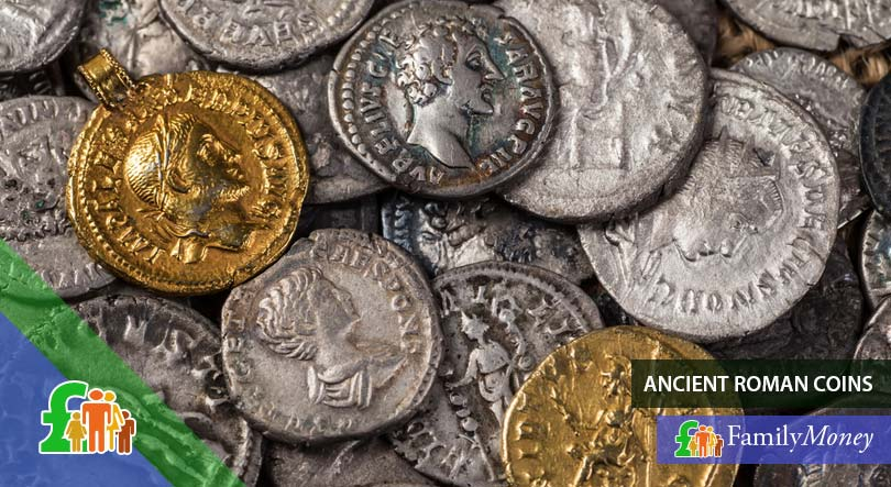 A picture of ancient coins of the Roman Empire