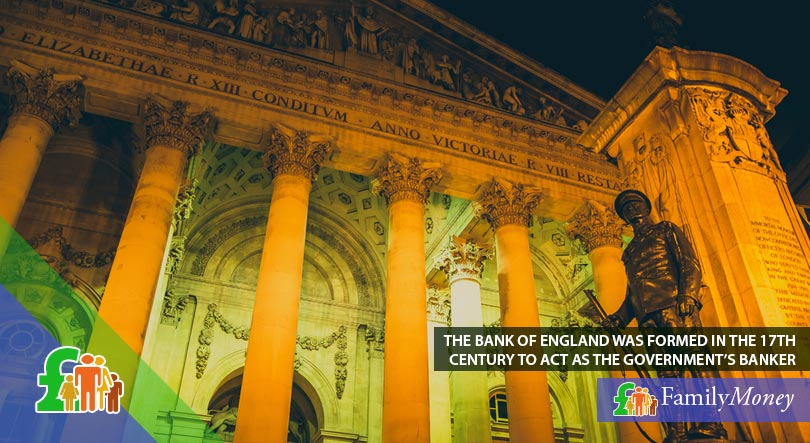 The Bank of England building front at night