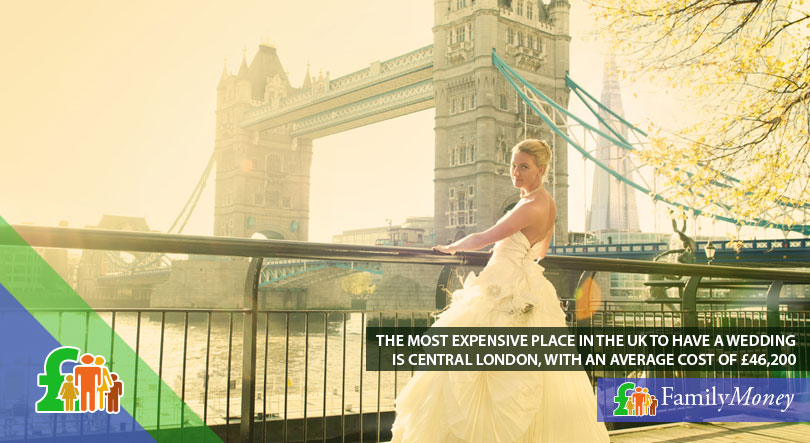 A bride is standing by the Thames with the Tower Bridge in the background