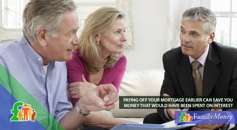 An elder couple are meeting with their financial adviser to discuss the possibility of making early mortgage repayments