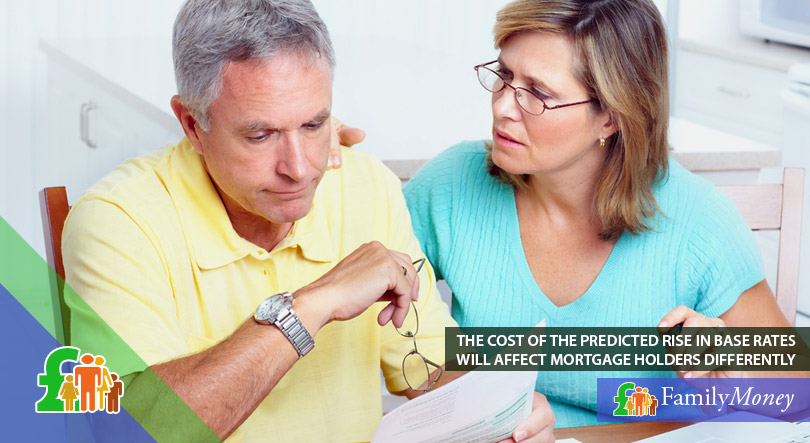 A picture of an elder couple looking worried about the cost of the predicted rise in base rates for their mortgage