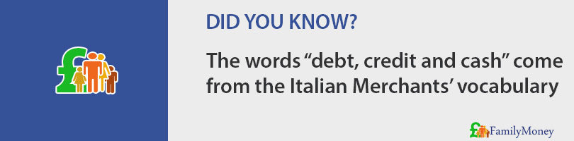 "The words ""debt, credit and cash"" come  from the Italian Merchants' vocabulary"