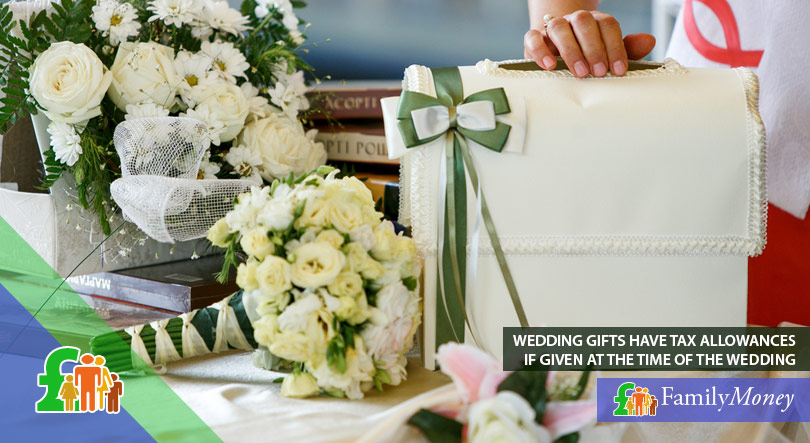 A table with flowers and wedding gifts which were given at the time of the wedding and therefore have tax allowance