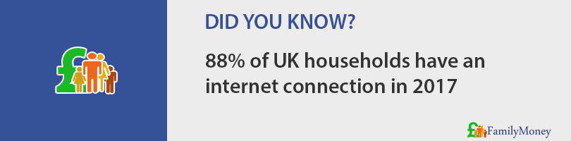 88% of UK households have an internet connection in 2017