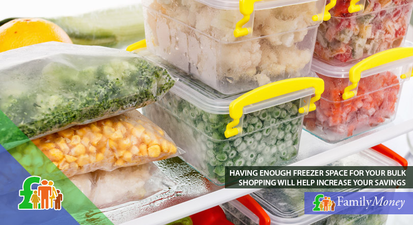 A picture of food that was bought in bulk and frozen in order to save money