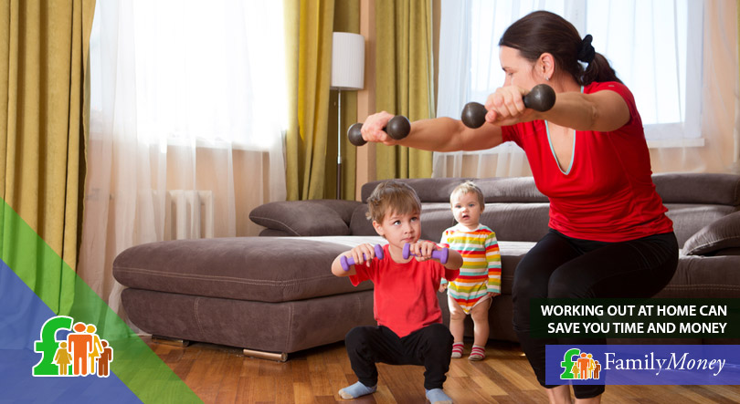 A mother is exercising at home with her children