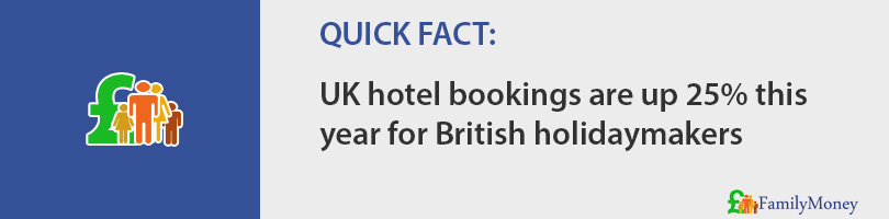 UK hotel bookings are up 25% this year for British holidaymakers