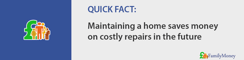 Maintaining a home saves money  on costly repairs in the future