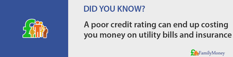 A poor credit rating can end up costing  you money on utility bills and insurance