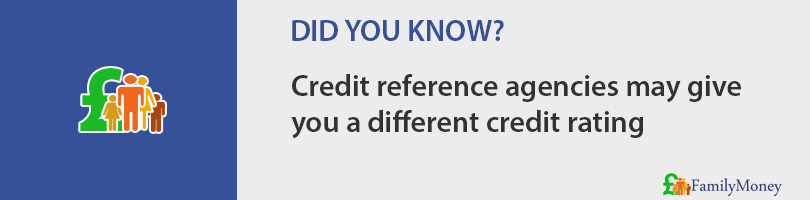 Credit reference agencies may give you a different credit rating