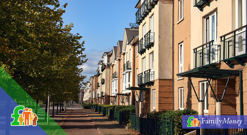 A street of British homes that are leasehold properties