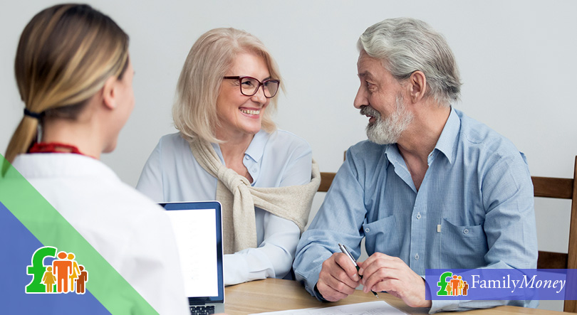 An elder couple are discussing the terms of their inheritance with their solicitor