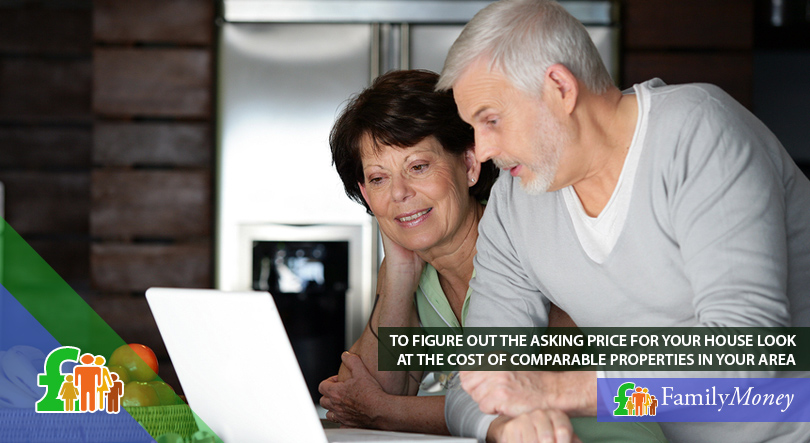 An elderly couple are looking up the cost of comparable properties in their area on their laptop