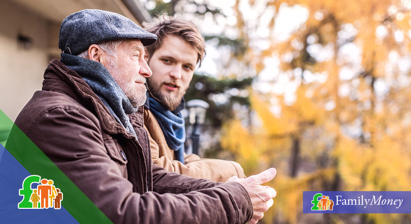 A father and son discuss government backed savings schemes