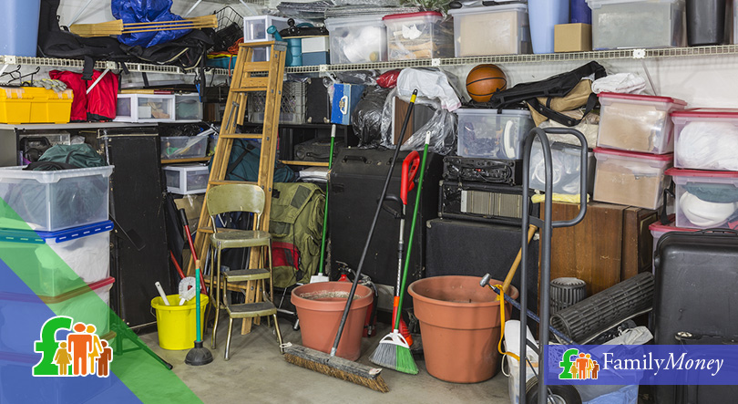 A pile of hoarded things in residential storage