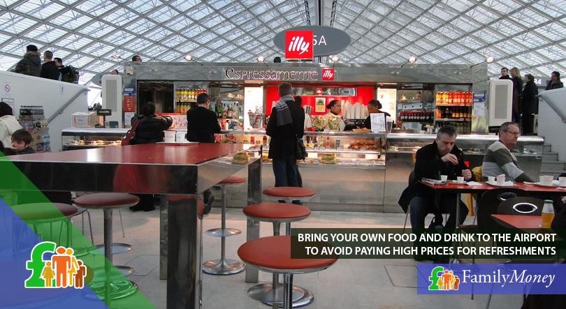 An airport cafeteria which charges high prices for its goods