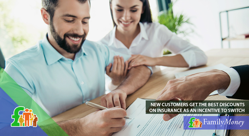 A couple sign a new home contents insurance policy which comes with a discount for new customers