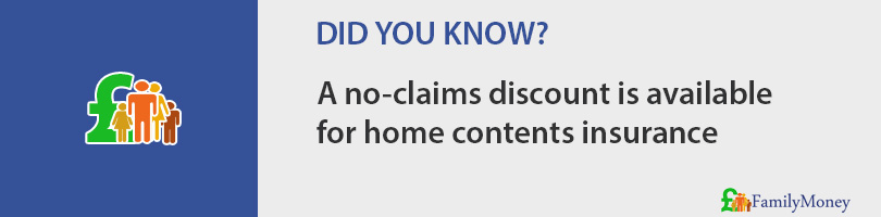 A no-claims discount is available  for home contents insurance