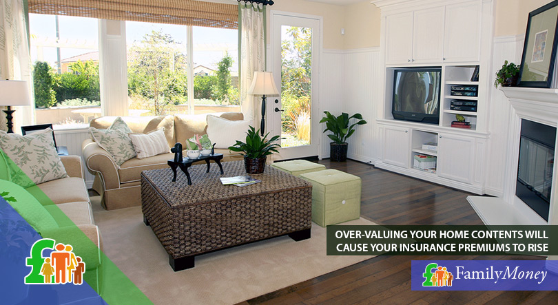 A living room whose contents are insured via home contents insurance