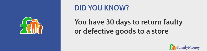 You have 30 days to return faulty  or defective goods to a store