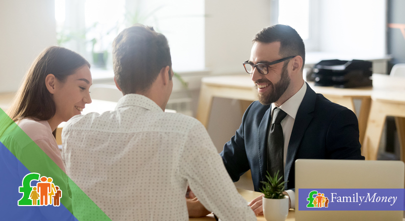A couple meet a lender to discuss a short term loan product