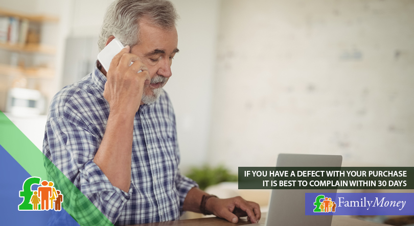 An elderly man is shown complaining about a defective purchase over the phone