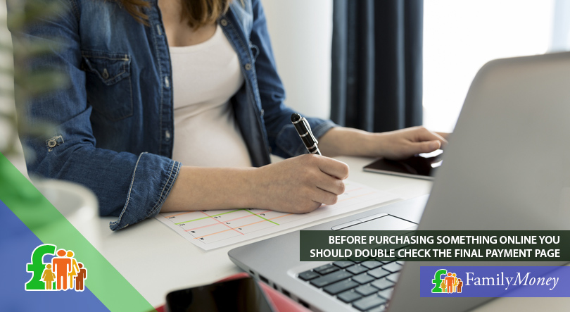 A woman is shown purchasing something online