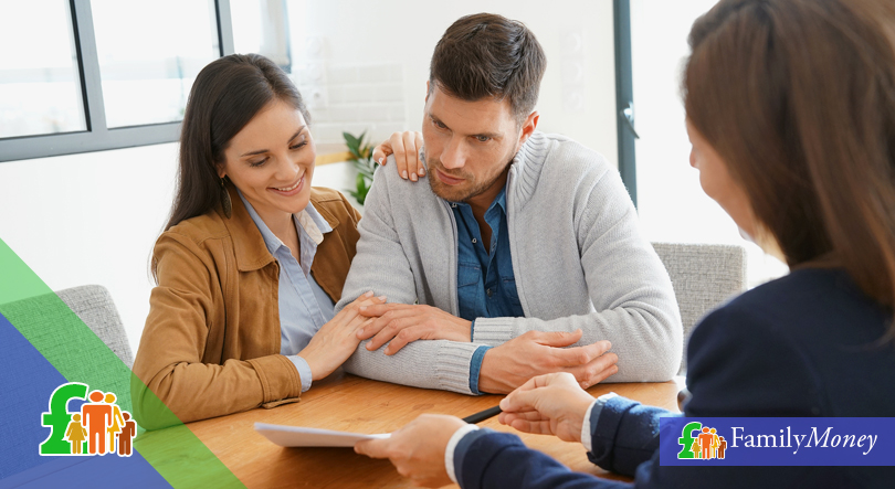 A couple are shown receiving financial advice from a debt consultant