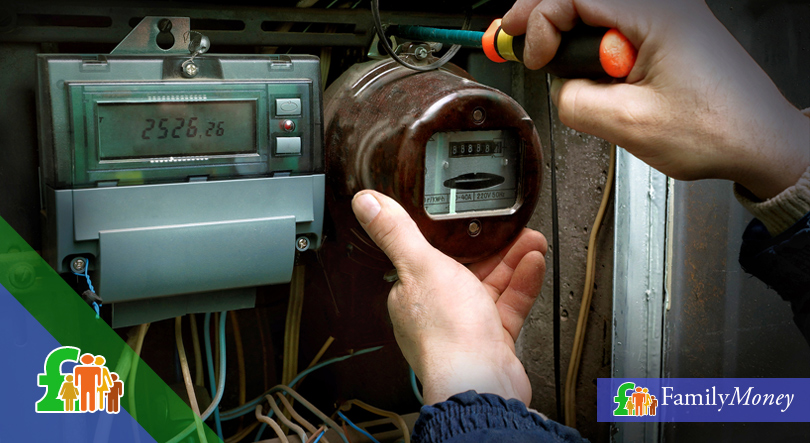 Electricity meters being worked on by an electrician