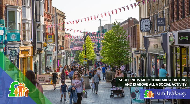 A busy British shopping street
