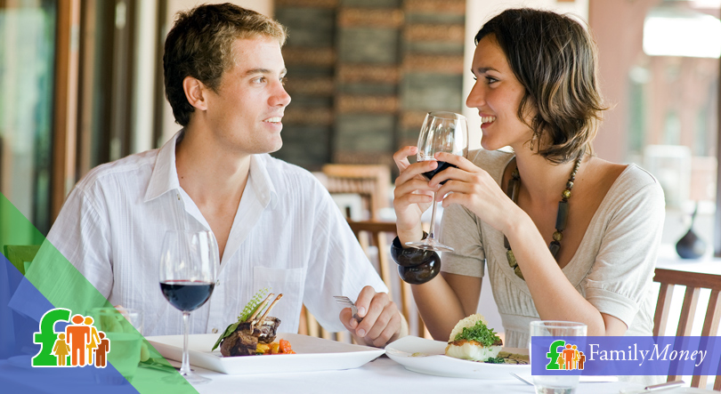 A young couple are dining at a restaurant