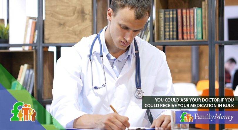 A doctor is depicted prescribing medication