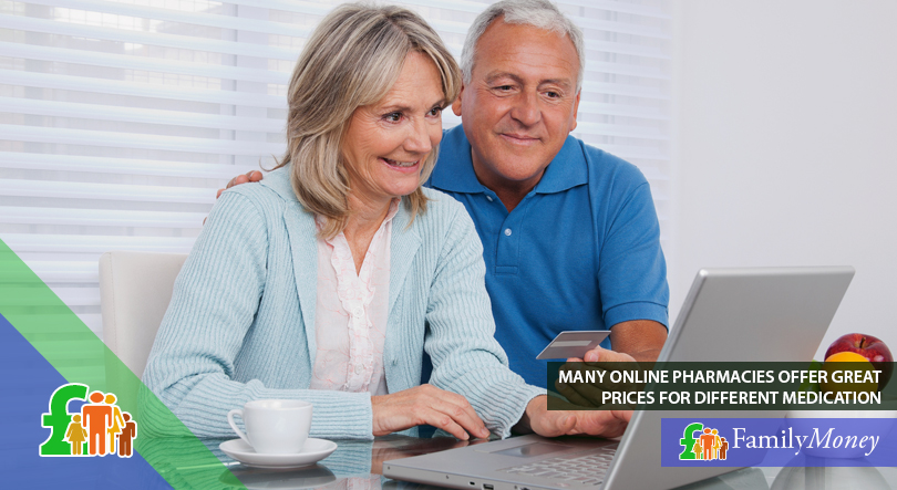 An elderly couple is shown ordering medication online