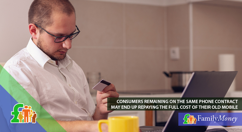 A man is shown paying his mobile phone bill online with his credit card