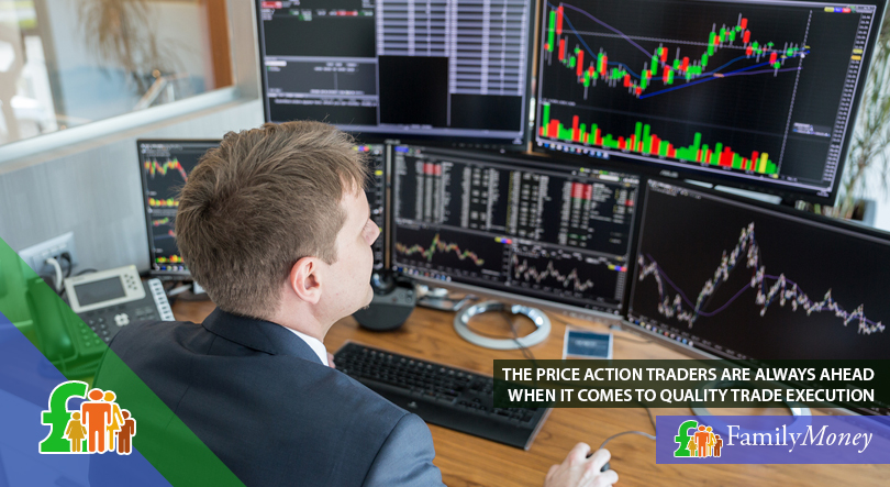 A trader is shown monitoring the price of stocks on computer screens
