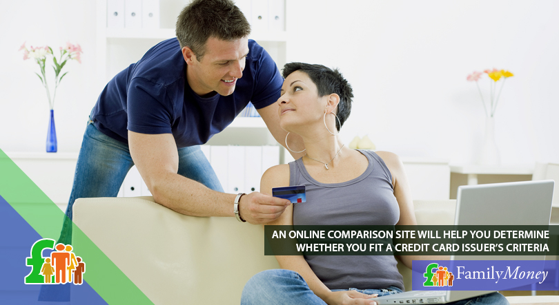 A couple are looking at a credit card comparison site to determine whether they fit a credit card issuer's criteria