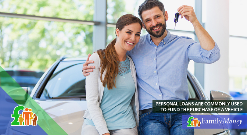 A couple are standing in front of the newly purchased car with the help of a personal loan