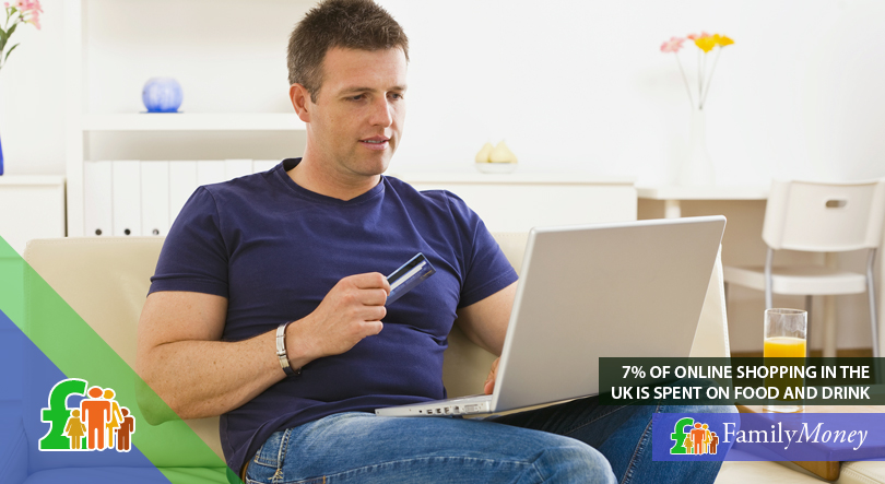 A man is shown on his laptop shopping for groceries online