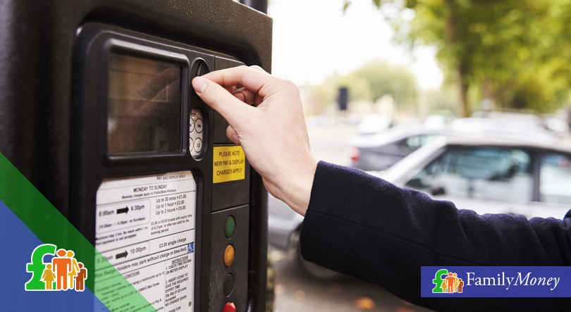 A parking meter which accepts payment in cash