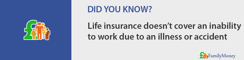 Life insurance doesn't cover an inability  to work due to an illness or accident