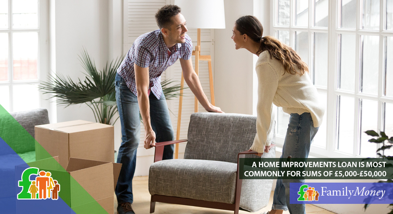 A young couple are moving in their new furniture that they bought with the help of a home improvements loan