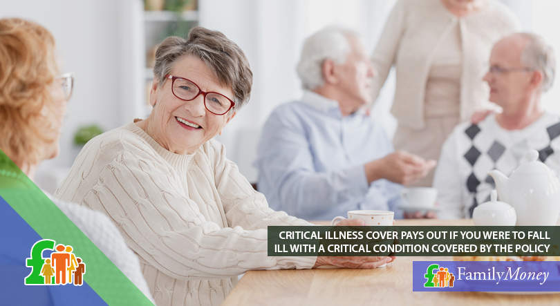 An elderly lady in a care home is reassured that in the case of critical illness her life insurance will pay out because she has taken out a critical illness cover policy
