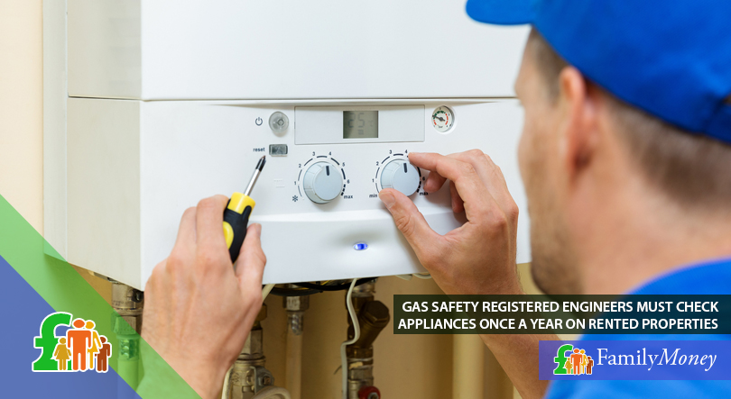 A gas safety engineer is shown performing a check on a gas boiler