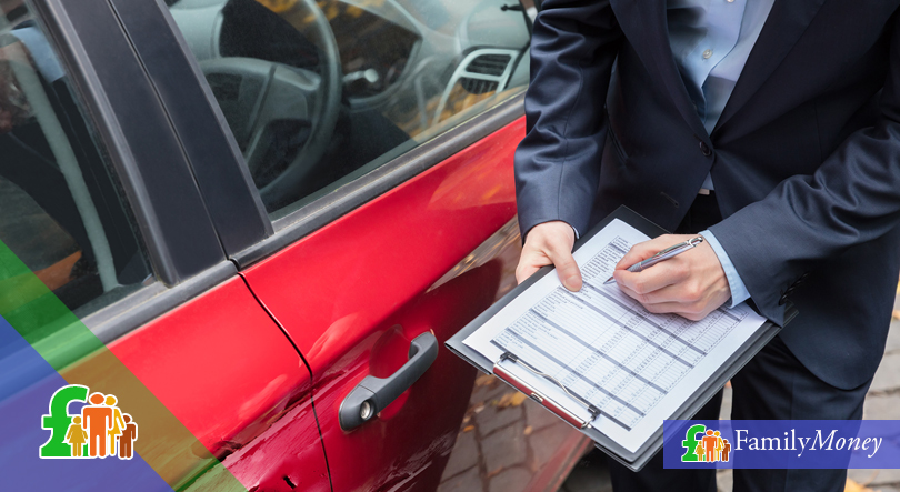 A car insurer is shown filling out a car accident report