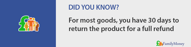 For most goods, you have 30 days to return the product for a full refund