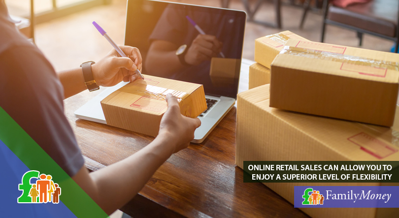 A man is shown packaging packets for his ecommerce business