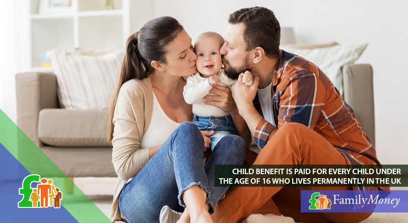 Parents are shown with their young child for whom they are claiming child benefit