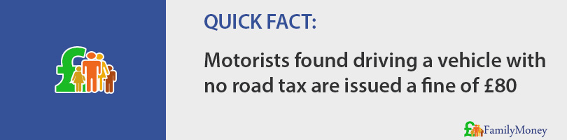 Motorists found driving a vehicle with no road tax are issued a fine of £80