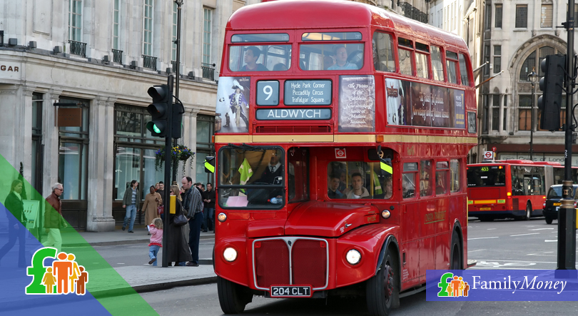 A London bus in traffic