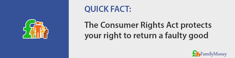 The Consumer Rights Act protects your right to return a faulty good
